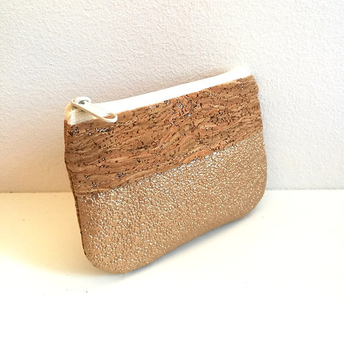 Pochette Pop - Simili grainé pailleté beige/ or mat