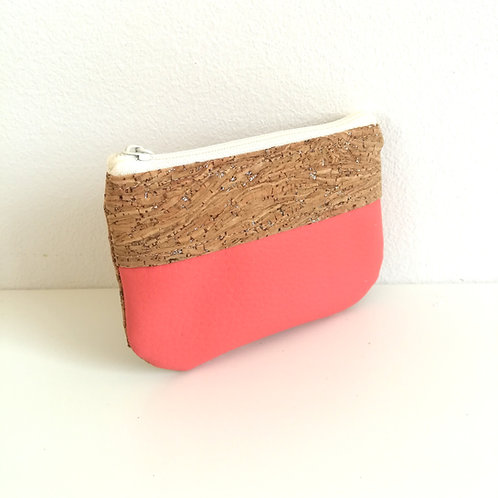 Pochette Pop - Simili cuir rose corail