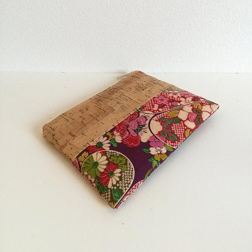 Pochette Mix Plate - coton japonais fleuri rose et violet