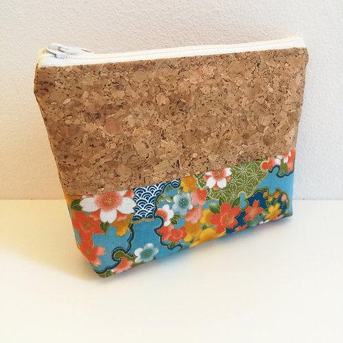 Pochette Mix - Coton japonais fleuri bleu