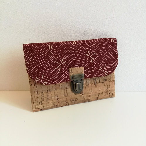 Pochette Paper - Coton japonais Libellules bordeaux