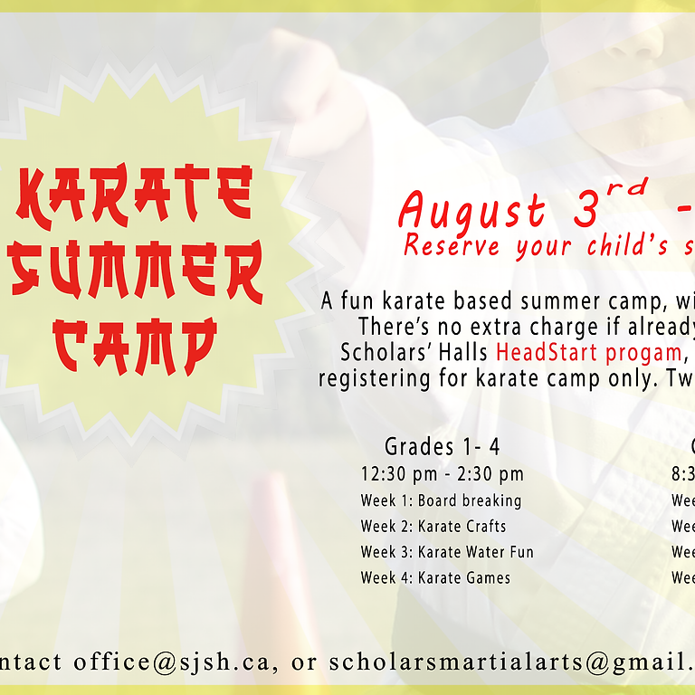 August Karate Summer Camp 2021