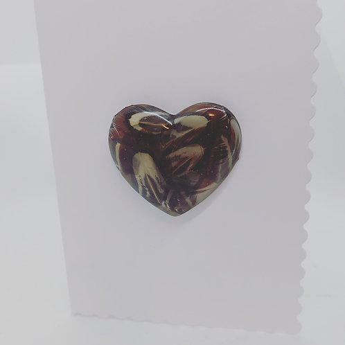 Pheasant feather resin Heart cards