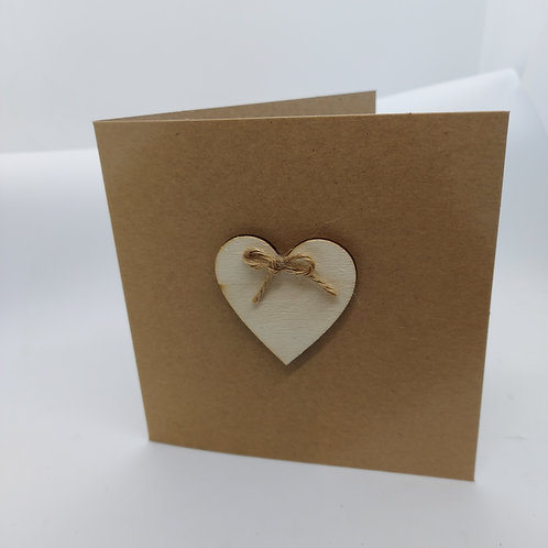 Wooden Heart with twine bow cards