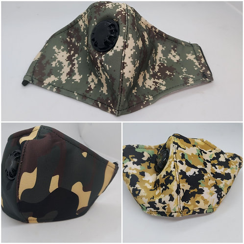 Camo masks with dust filters