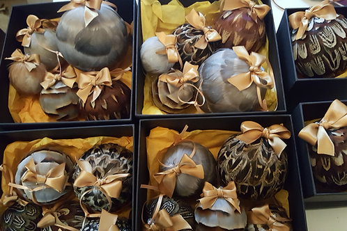 Box of 5 handmade Luxury Feather Baubles