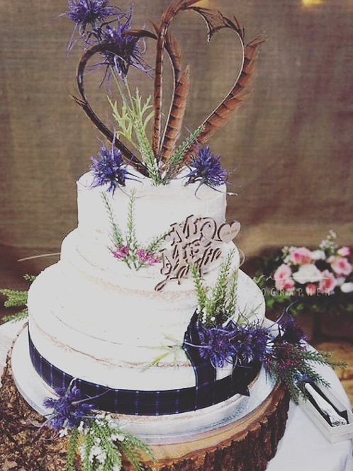 Wedding Cake Feather Heart Topper