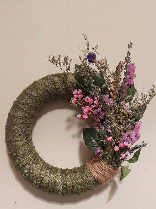 Fabric and dried flower wreath