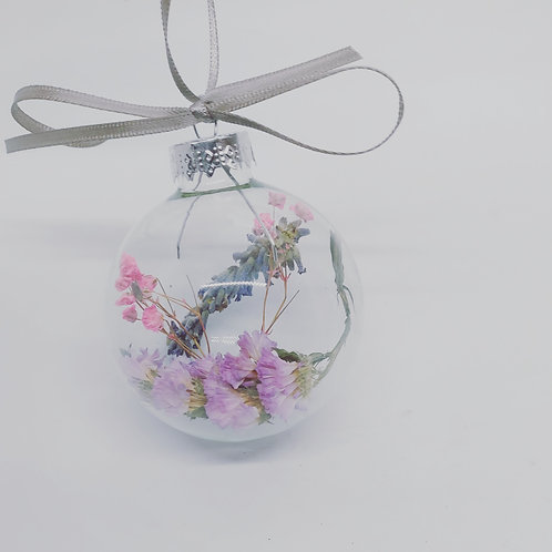 Dried Flower Glass Baubles(pack of 2)