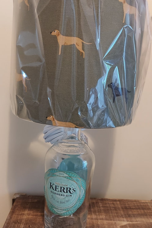 Kerrs Gin Bottle Lamp with lab shade