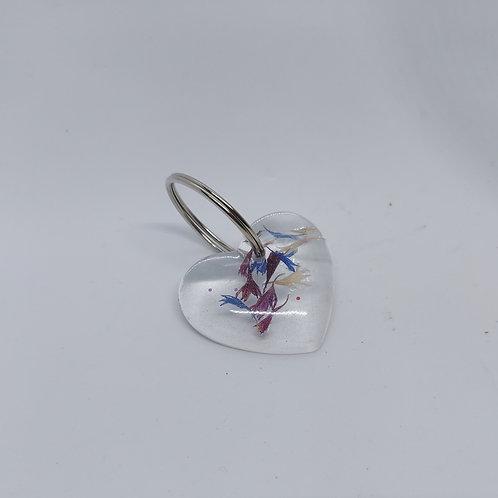 Dried flower heart keyrings