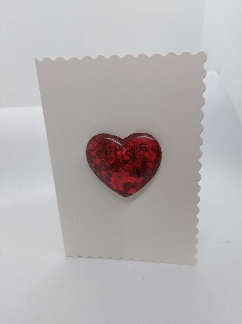 Red resin glitter heart card