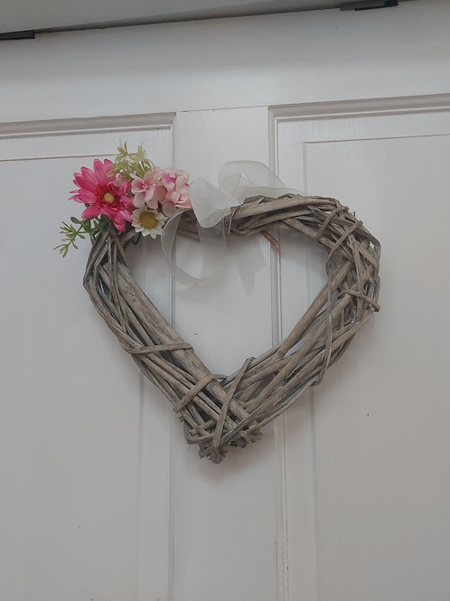Heart wreath with silk flowers