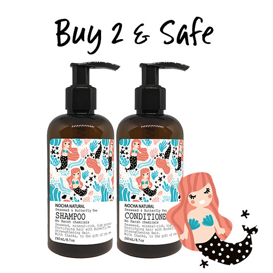 Nocha Shampoo and Conditioner Seaweed and Butterfly Pea