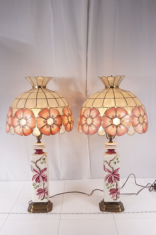Pair Of 1940s Table Lamps With Capiz Shell Shades