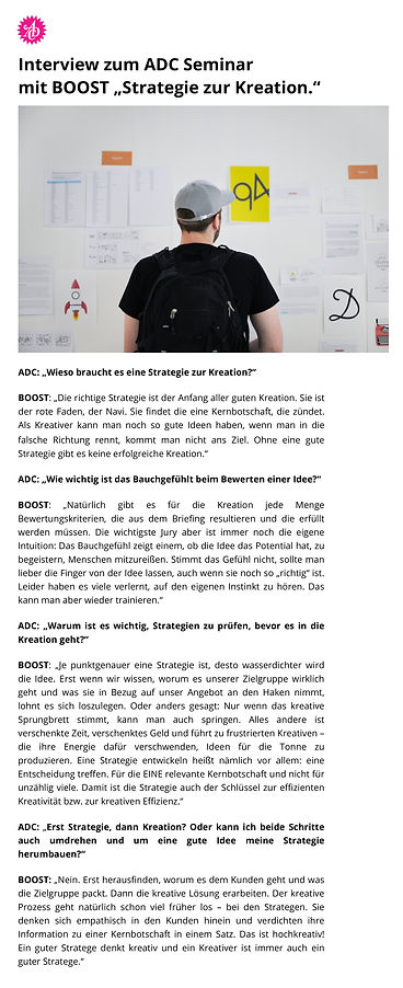 ADC Seminar und BOOST, Interview