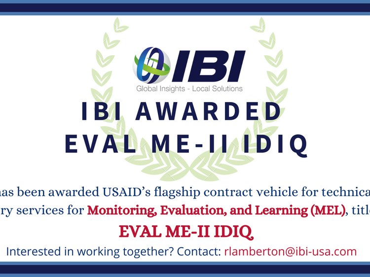 IBI to Provide USAID with Monitoring, Evaluation and Learning Services under the New EVAL ME-II IDIQ