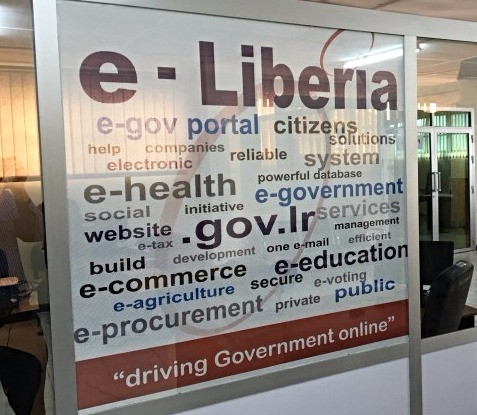 "a display outside the ""e-Liberia"" office at the Ministry of Post & Telecommunication (MOPT)"
