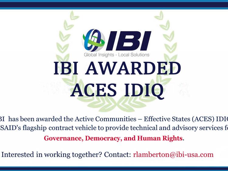 IBI Awarded ACES IDIQ Contract