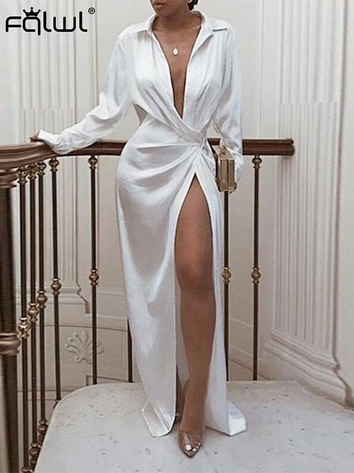 white wrap dress bridal getting ready dress