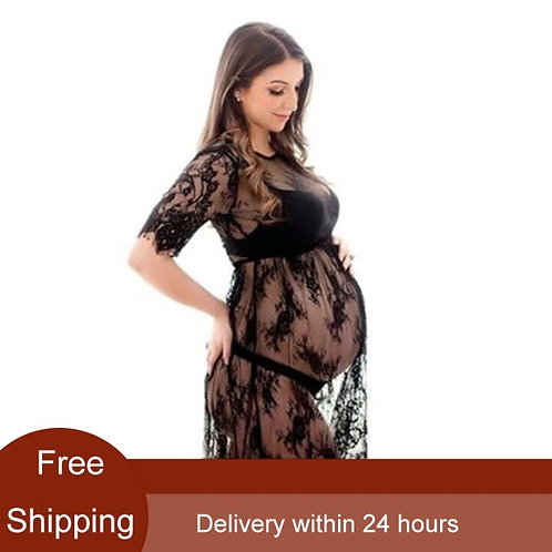 Maternity black lace dress