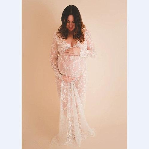 White Maternity lace dress