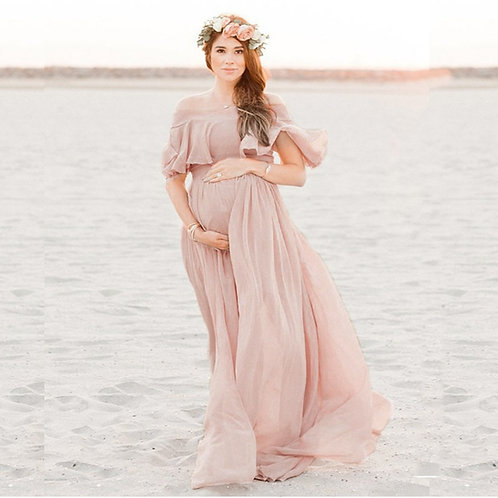 Off the shoulder flowing maternity dress