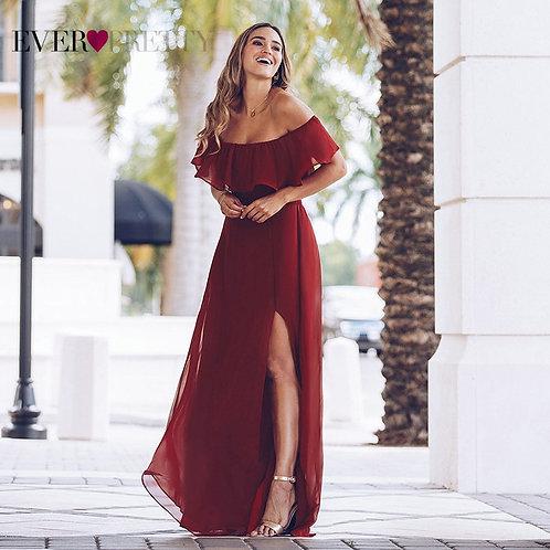 red maxi ruffle dress