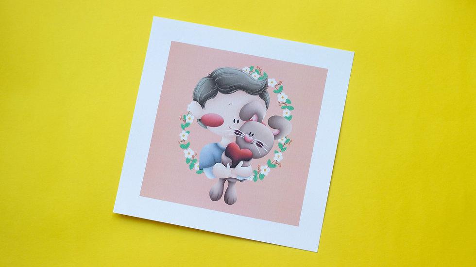 """Ilustração """"Boby e um coelhinho"""""""