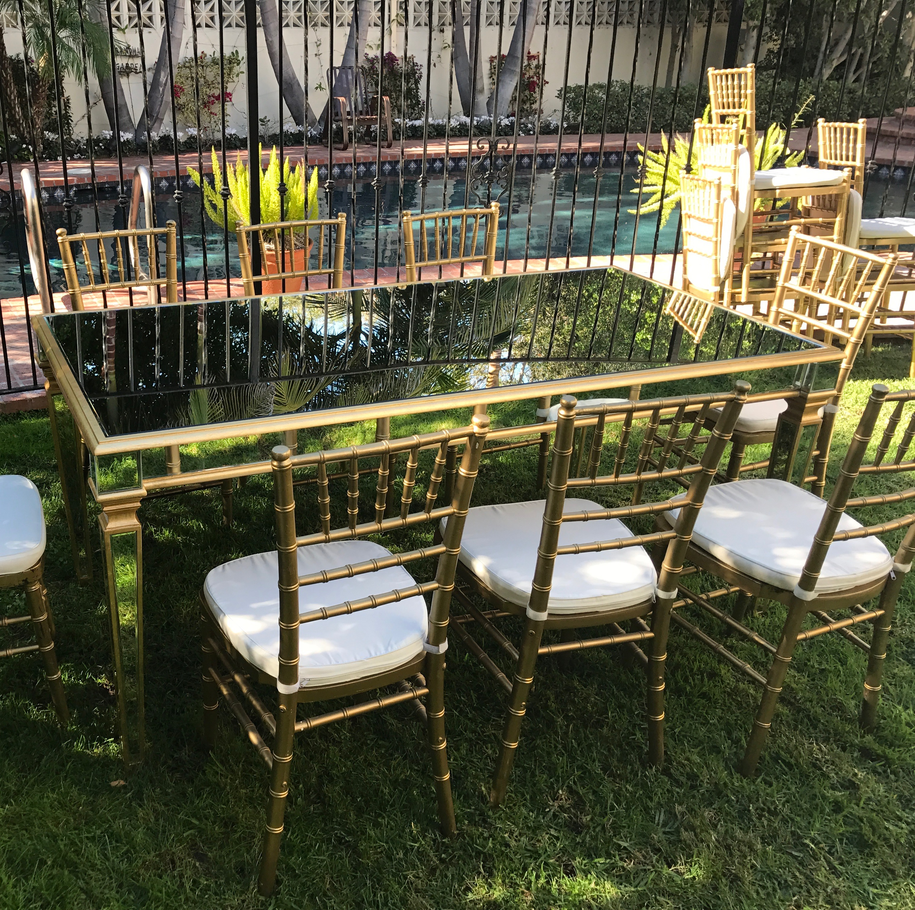 Gold Trim Mirror Top Table