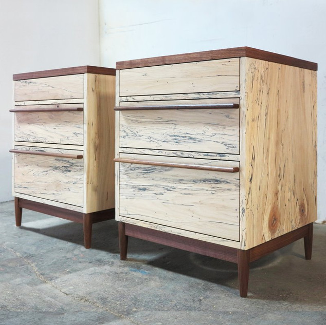 Spalted Maple Nightstands with Walnut Accents