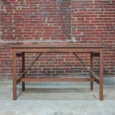 Walnut Table with Brass Accents