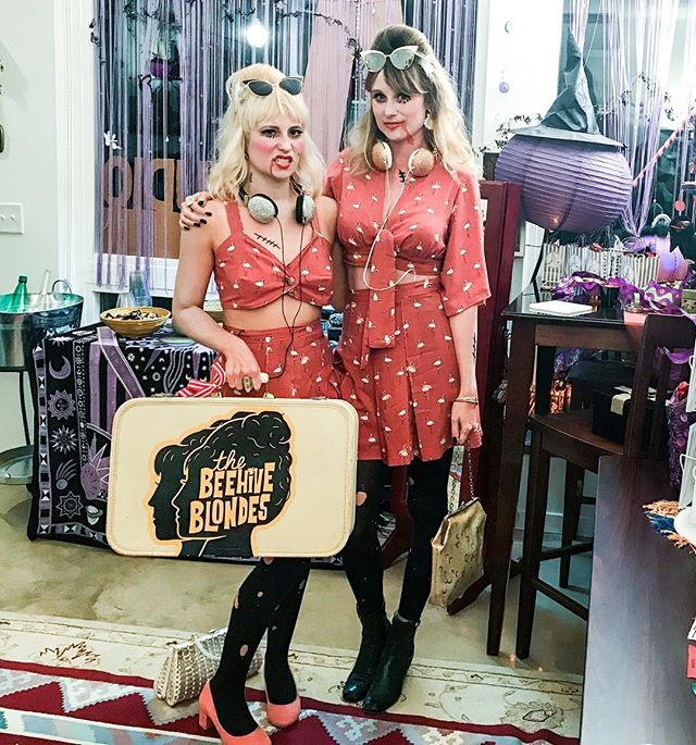 """The (DEAD) ☠️Beehive Blondes unveiling our custom Beehive flamingo playsuits 🎃🐝🐝 A version of th"