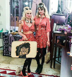 """""""The (DEAD) ☠️Beehive Blondes unveiling our custom Beehive flamingo playsuits 🎃🐝🐝 A version of th"""