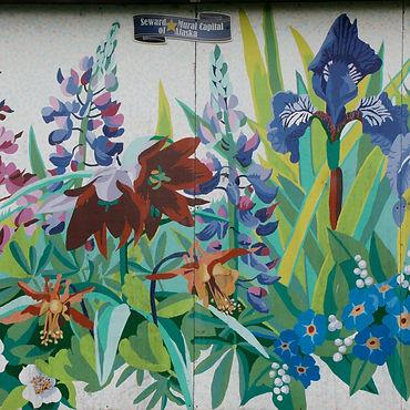 Wildflower Garden Mural by Gail Niebrugge in Seward, Alaska.
