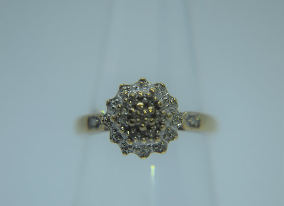Vintage Gold and Diamond retro cocktail ring