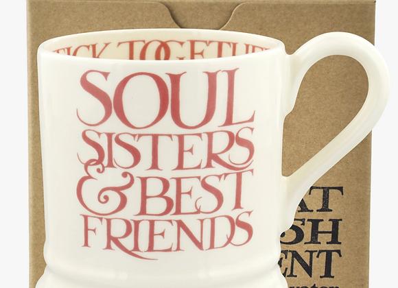 Emma Bridgewater Pink Toast Soul Sisters 1/2 Pint Mug Boxed