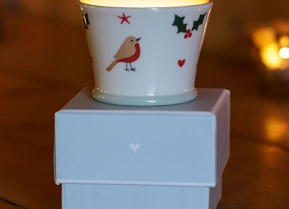 Susie Watson Christmas Robin Scented Candlepot