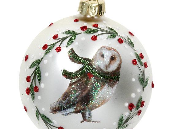 A Gisela Graham Magical Snowy Owl Glass Bauble