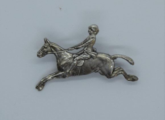 Silver Horse & Rider Brooch