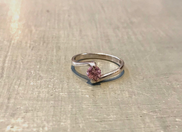Silver with pretty pink crystal