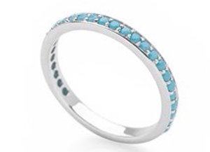 Sterling Silver stacking eternity ring with turquoise crystals