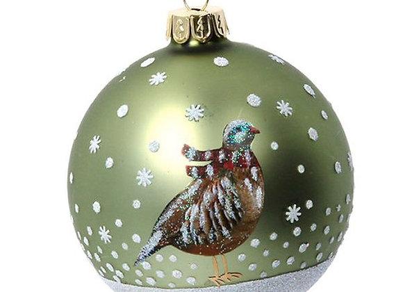 Gisela Graham Partridge & Pheasant Glass Bauble