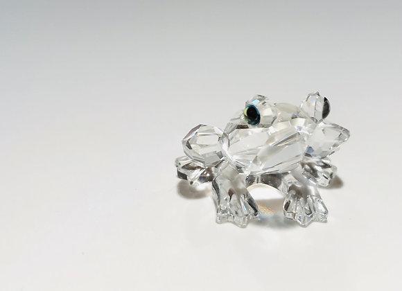 Swarovski Crystal frog with green eyes