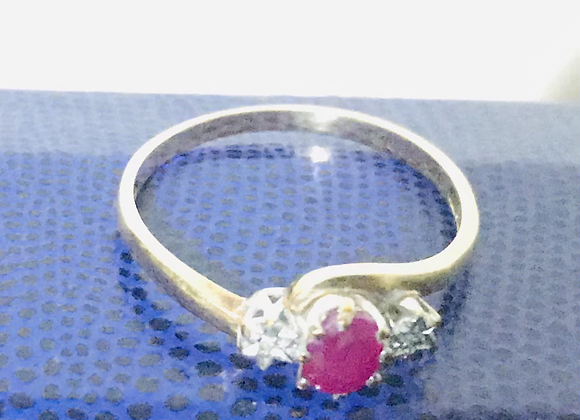 A Vintage Ruby and Diamond Gold Ring