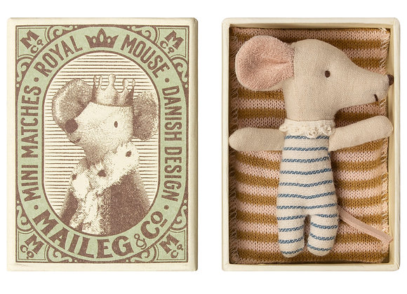 Baby Boy Mouse, Sleepy Wakey in Matchbox