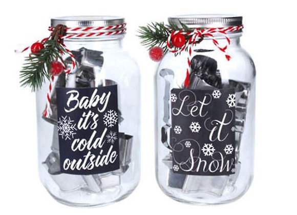 Gisela Graham Glass Jar full of Christmas cookie cutters!
