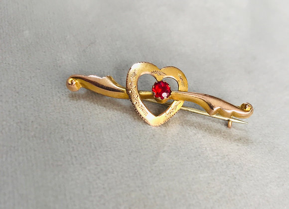 9ct Gold with Ruby Vintage Brooch