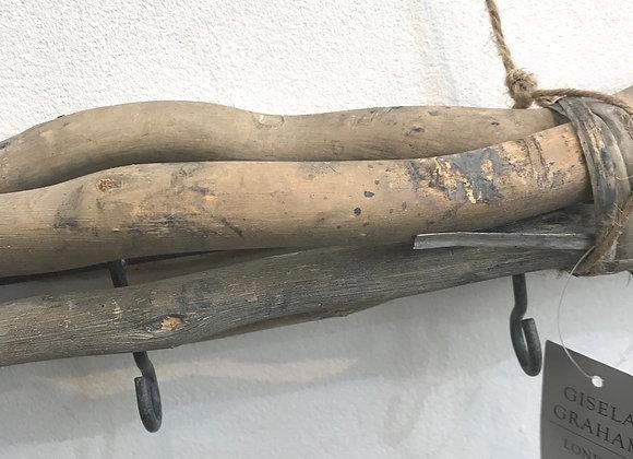 Rustic Twig Bundle with 5 hooks