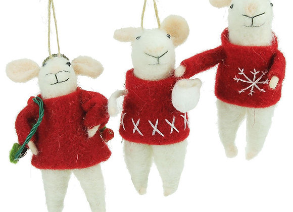 Set of three white mice in their winter woolies